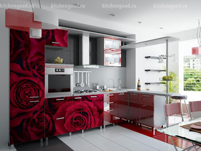 кухня арт-деко с фотопечатью