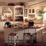 кухня в стиле Прованс с островом, образцы кухонных гарнитуров,