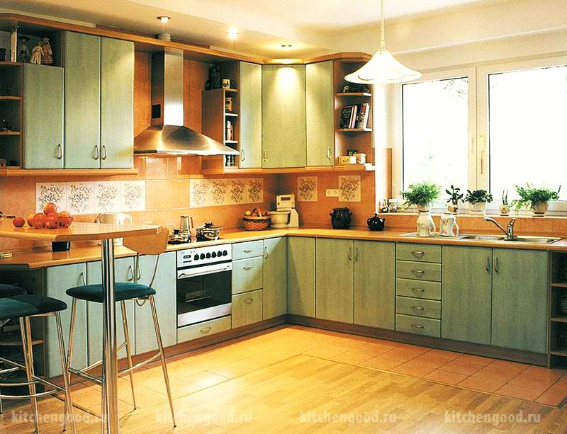 кухня в стиле кантри, образцы кухонных гарнитуров,
