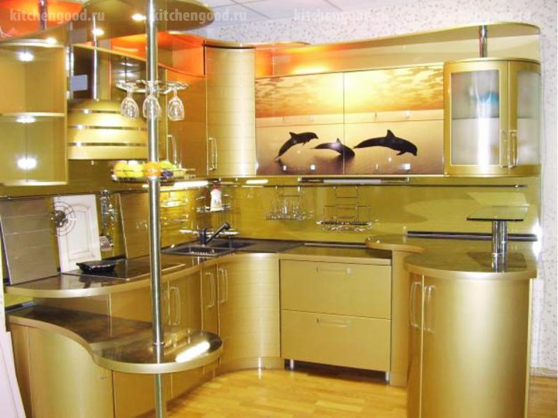 кухня в стиле хай-тек металлик