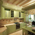 кухня МДФ Кантри с барной стойкой оливковая