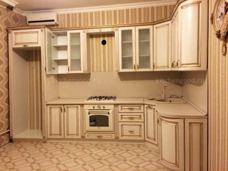 Классическая кухня МДФ с патиной и декором