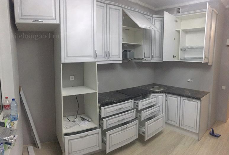 Кухня мдф патина серебро