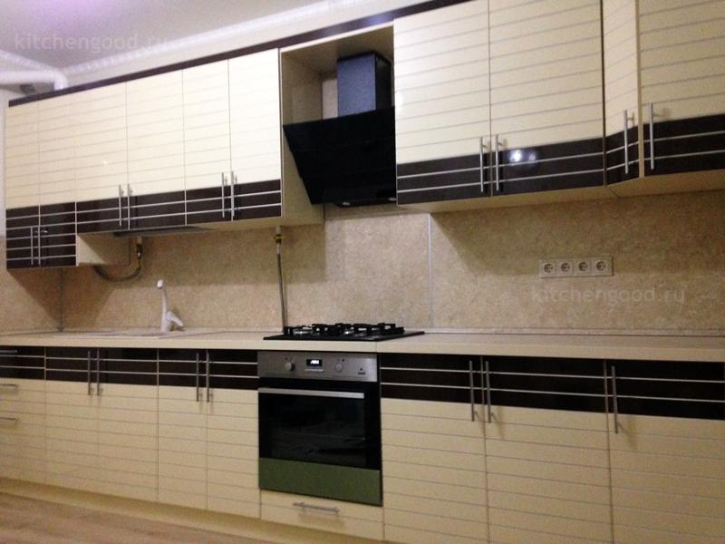 Кухня эмаль белая полоска Венге