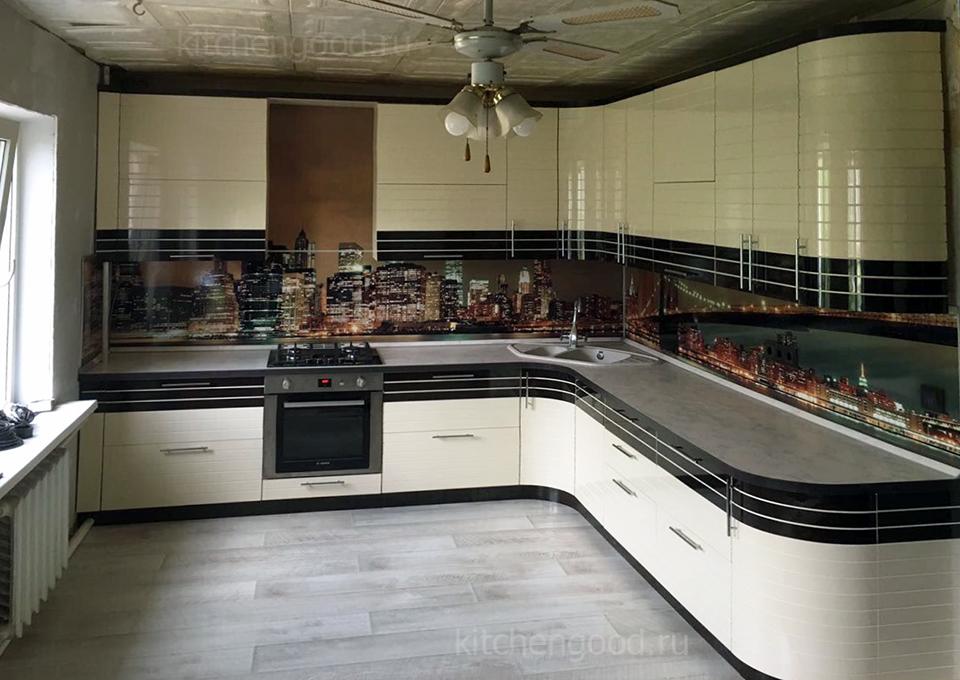 кухня эмаль шпон белая венге